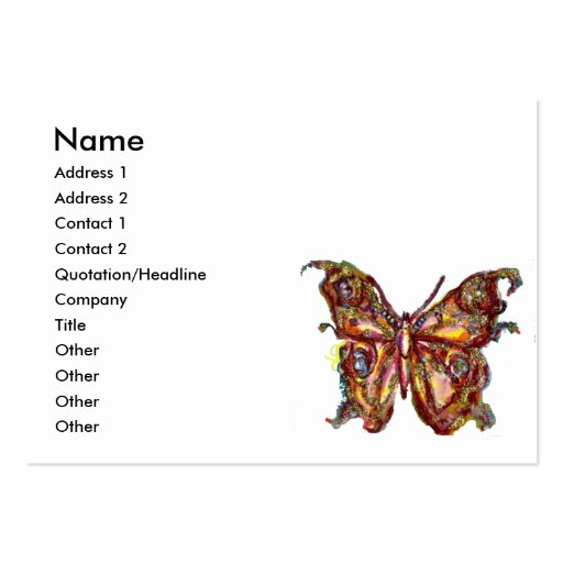 GOLD BUTTERFLY IN BLUE AND WHITE BUSINESS CARD TEMPLATES