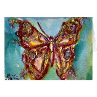 GOLD BUTTERFLY IN BLUE GREETING CARD