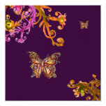GOLD BUTTERFLY IN PURPLE ,Elegant Classy Wedding 13 Cm X 13 Cm Square Invitation Card