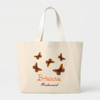 Gold Butterfly Personalized Name Bridesmaid Large Tote Bag
