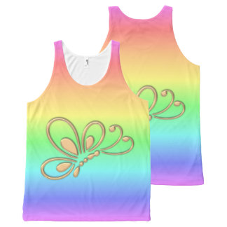 Gold Butterfly Profile Pastel Rainbow Colors All-Over Print Tank Top