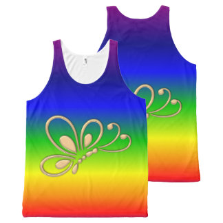 Gold Butterfly Profile Rainbow Customizable All-Over Print Tank Top