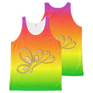 Gold Butterfly Profile Warm Rainbow All-Over Print Tank Top
