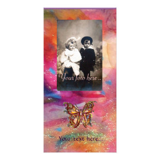 GOLD BUTTERFLY / RED PINK BLUE ABSTRACT PERSONALISED PHOTO CARD