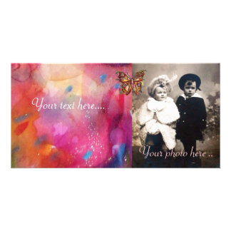 GOLD BUTTERFLY / RED PINK BLUE ABSTRACT PHOTO CARDS