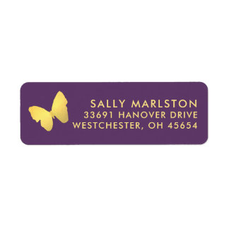 Gold Butterfly Return Address Labels