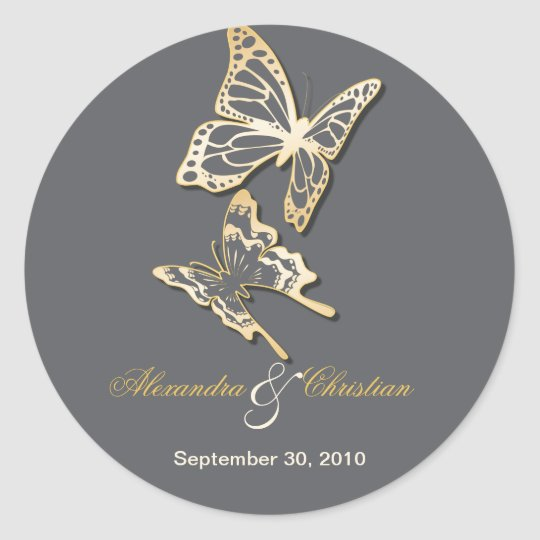 Gold Butterfly Save The Date Wedding Announcement Classic
