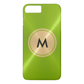 Gold Button and Green Stainless Steel Metal iPhone 7 Plus Case