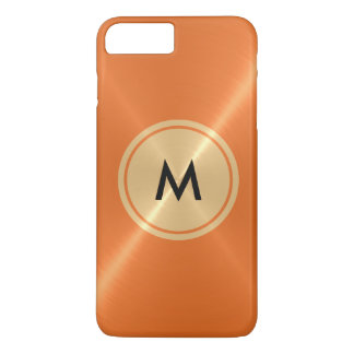 Gold Button and Orange Stainless Steel Metal iPhone 7 Plus Case