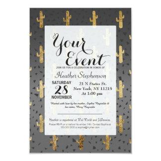 Gold Cactus on Modern Chic Geo Triangles Gradient 9 Cm X 13 Cm Invitation Card