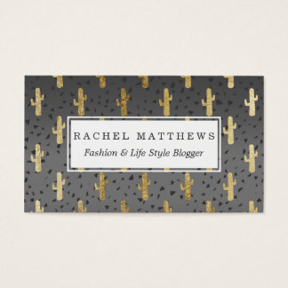Gold Cactus on Modern Chic Geo Triangles Gradient Business Card