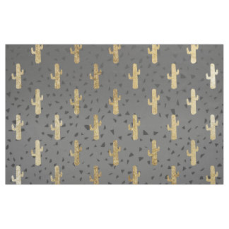 Gold Cactus on Modern Chic Geo Triangles Gradient Fabric