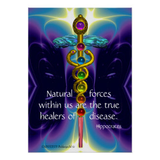 GOLD CADUCEUS AND 7 CHAKRAS IN BLUE PURPLE WAVES POSTER