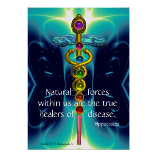 GOLD CADUCEUS AND 7 CHAKRAS IN TEAL BLUE WAVES POSTER