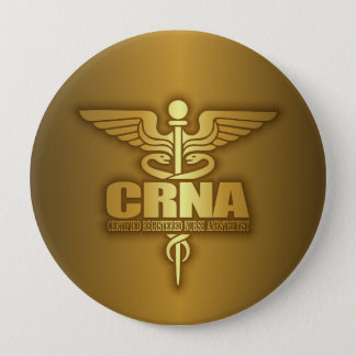 Gold Caduceus (CRNA) 10 Cm Round Badge