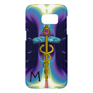 GOLD CADUCEUS MEDICAL SYMBOL ,Blue Purple Monogram