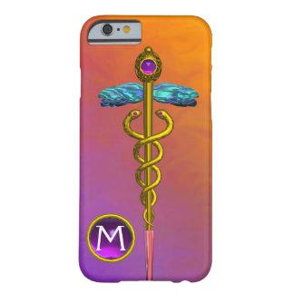 GOLD CADUCEUS MEDICAL SYMBOL Purple Gem Monogram Barely There iPhone 6 Case