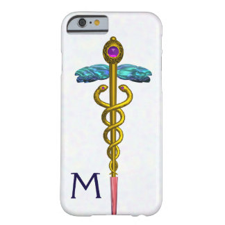 GOLD CADUCEUS MEDICAL SYMBOL White Monogram Barely There iPhone 6 Case