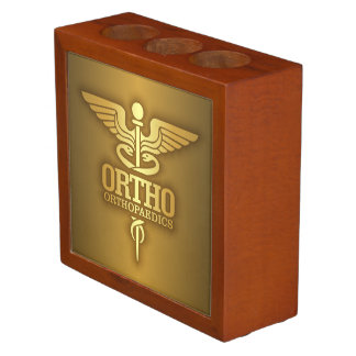Gold Caduceus (ORTHO) Desk Organiser