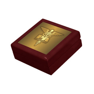 Gold Caduceus (PA) Small Square Gift Box