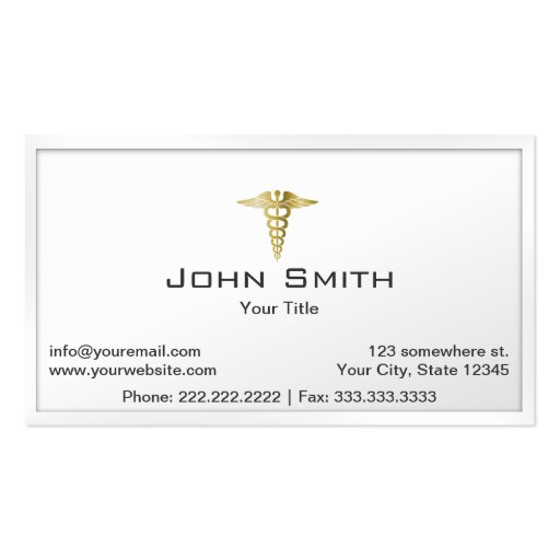 Gold Caduceus White Border Medical Business Card