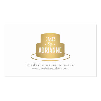 Gold Cake Logo I for Bakery, Cafe, Chef Pack Of Standard Business Cards