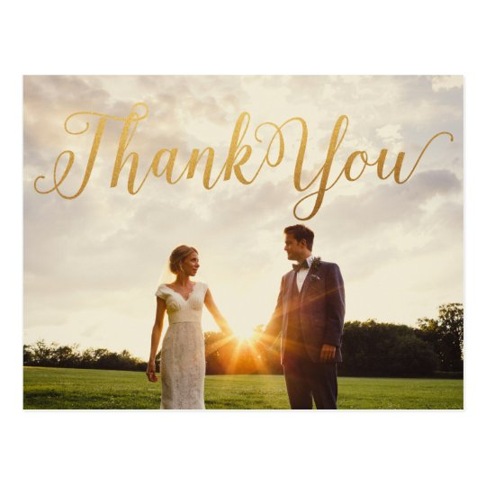 Gold Calligraphy Photo Thank You Post Card