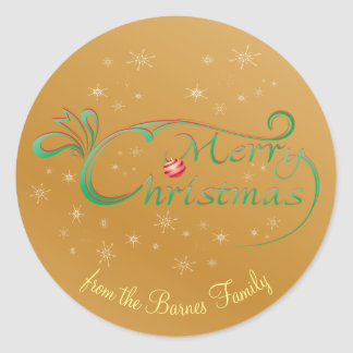 Gold Calligraphy Swirls Snowflakes Customizable Round Sticker