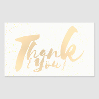 Gold Calligraphy Thank You Dots on White Faux Foil Rectangular Sticker