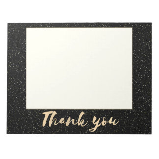 Gold Calligraphy Thank You with Dots on Black Faux Notepad
