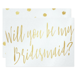"Gold Calligraphy ""Will you be my bridesmaid"" Card"