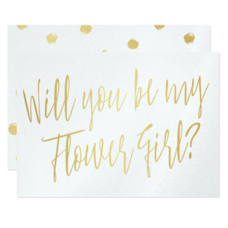 "Gold Calligraphy ""Will you be my flower girl"" Card"