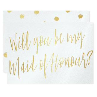 "Gold Calligraphy ""Will you be my maid of honour"" Card"