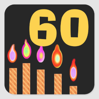Gold Candles 60th Birthday Square Sticker
