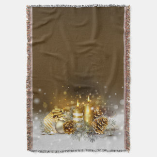 Gold Candles Christmas Elegant Holiday Home Decor Throw Blanket