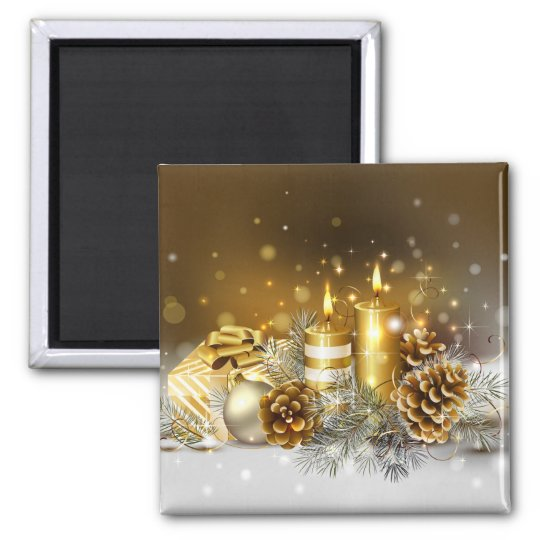 Gold Candles Christmas Elegant Holiday Square Magnet