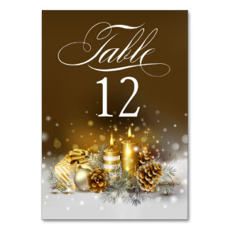 Gold Candles Christmas Party Elegant Table Numbers Table Cards