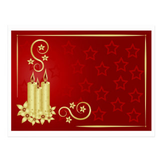 gold candles, flowers and swirls on red background postcard