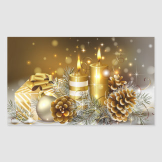 Gold Candles Merry Christmas Holiday Rectangular Sticker
