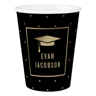 Gold Cap EDITABLE COLOR Graduation Paper Cup