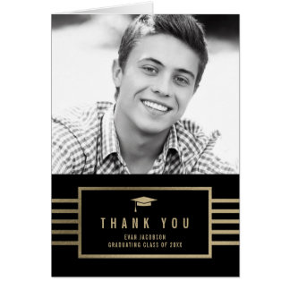 Gold Cap EDITABLE COLOR Graduation Thank You Card