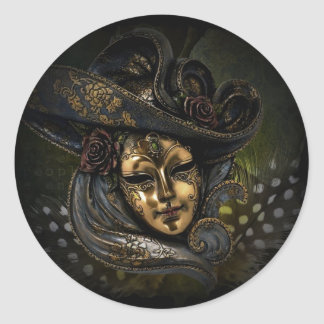 Gold carnival mask with blue hat and feathers round sticker