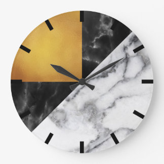 Gold Carrara Marble Gray Geometry Black Stone Meta Large Clock