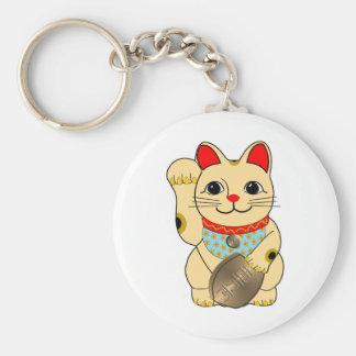 Gold Cat Basic Round Button Key Ring
