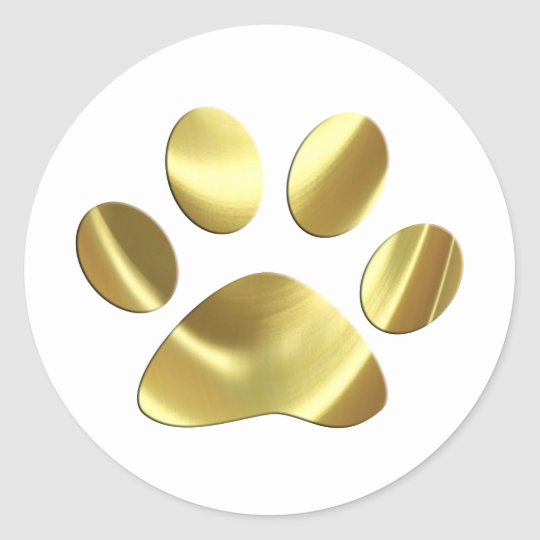 Gold Cat Paw Print Classic Round Sticker