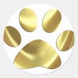 Gold Cat Paw Print Round Sticker