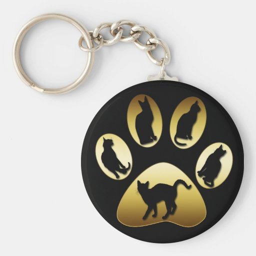 GOLD CAT PAW WITH CATS BASIC ROUND BUTTON KEY RING