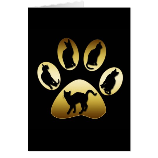 GOLD CAT PAW WITH CATS GREETING CARD