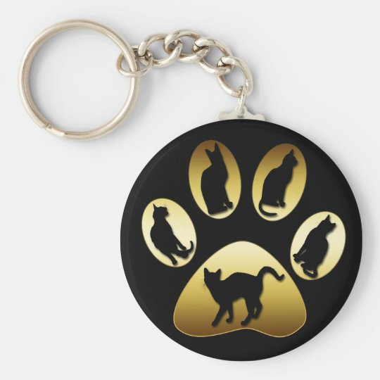 GOLD CAT PAW WITH CATS KEY RING