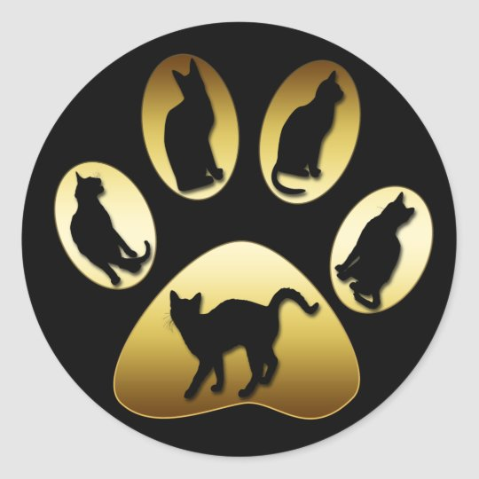 GOLD CAT PAW WITH CATS ROUND STICKER